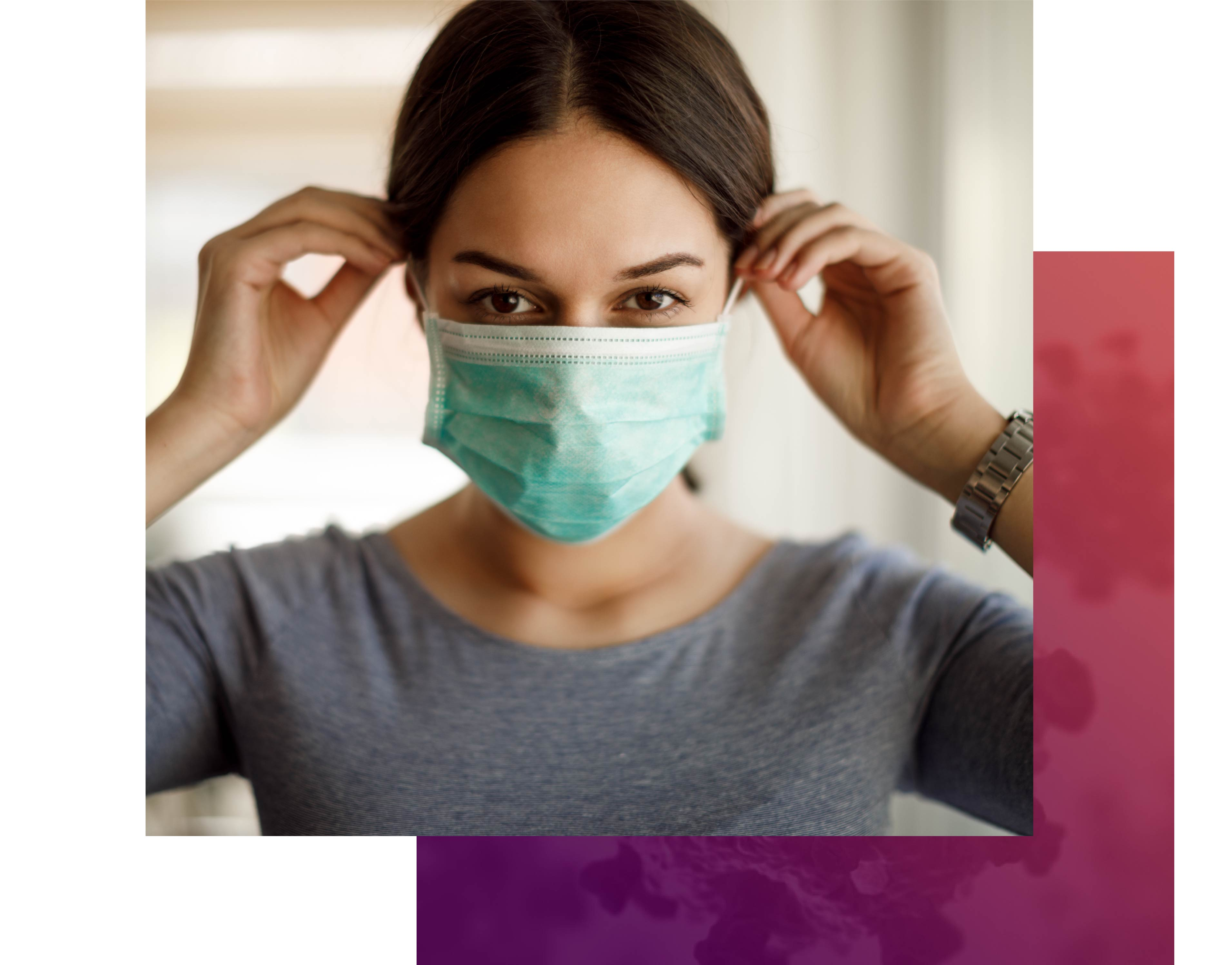 Woman putting on her mask to protect from COVID-19
